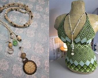 Convertible Multicolored Beaded Hemp Cord Necklace > Suncatcher > Rearview Mirror Trinket