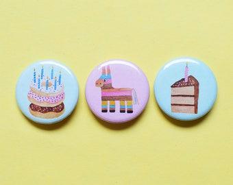 Birthday Pin Set | 1.25 inch Pinback Button Badge | Donuts, Pinata and Cake