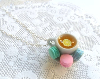Lemon Tea Cup and Saucer with Macarons Necklace, Cute, Kawaii, Choice of Sterling Silver, Stainless Steel, or Silver Plated Chain :)