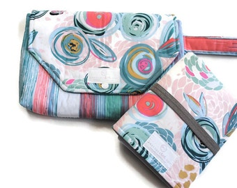 Turquoise Floral Diaper Clutch with Travel Changing Pad - New Mom Gift - Baby Accessories - Made to Order