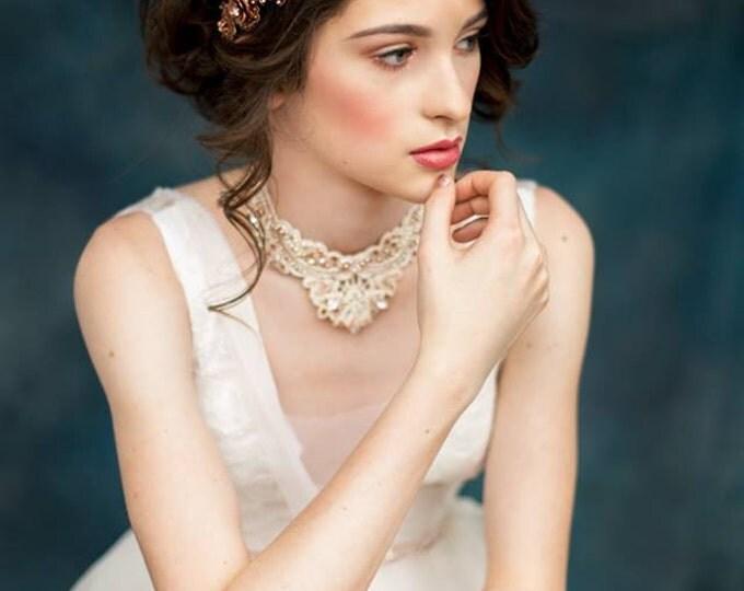 Antique Rose Gold Bridal Crown, Modern Crown, Crystal Hair Chain, Flower Crown, Medieval Headpiece Headband, Bridal Hairpiece ROSEMARY