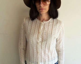 Vintage 50s 60s Sweet and Sheer White Lace Button Up Blouse