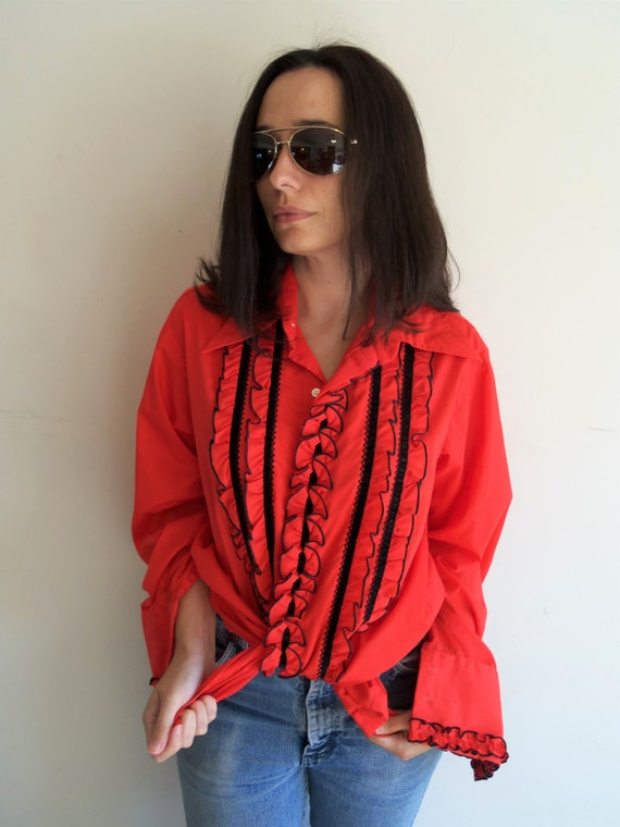 Funky vintage 70s red and black ruffle tuxedo formal shirt for Red ruffled tuxedo shirt