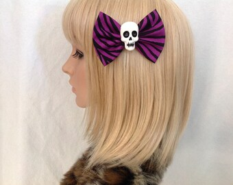 Purple skull hair bow clip rockabilly psychobilly gothic zebra animal print Lolita rock punk pin up girl black vintage skeleton fabric girls