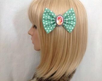 Ariel the little mermaid hair bow clip rockabilly psychobilly disney princess kawaii pin up geek fabric green ladies girls polka dot kitsch