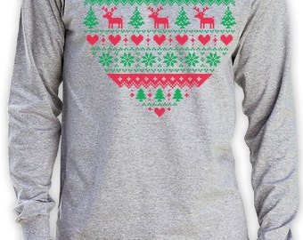 Heart Shaped Ugly Christmas Sweater Men's Long Sleeve T-Shirt