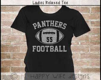 Football Mom Shirt - Football Shirt with Team Name - Football Jersey - Football Tee - Glitter Football Mom Shirt with Team Name and Number
