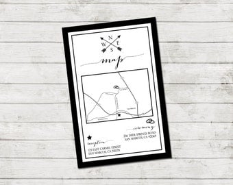 Wedding Map Event Map Customizable Wedding Map Arrow Compass Black And White