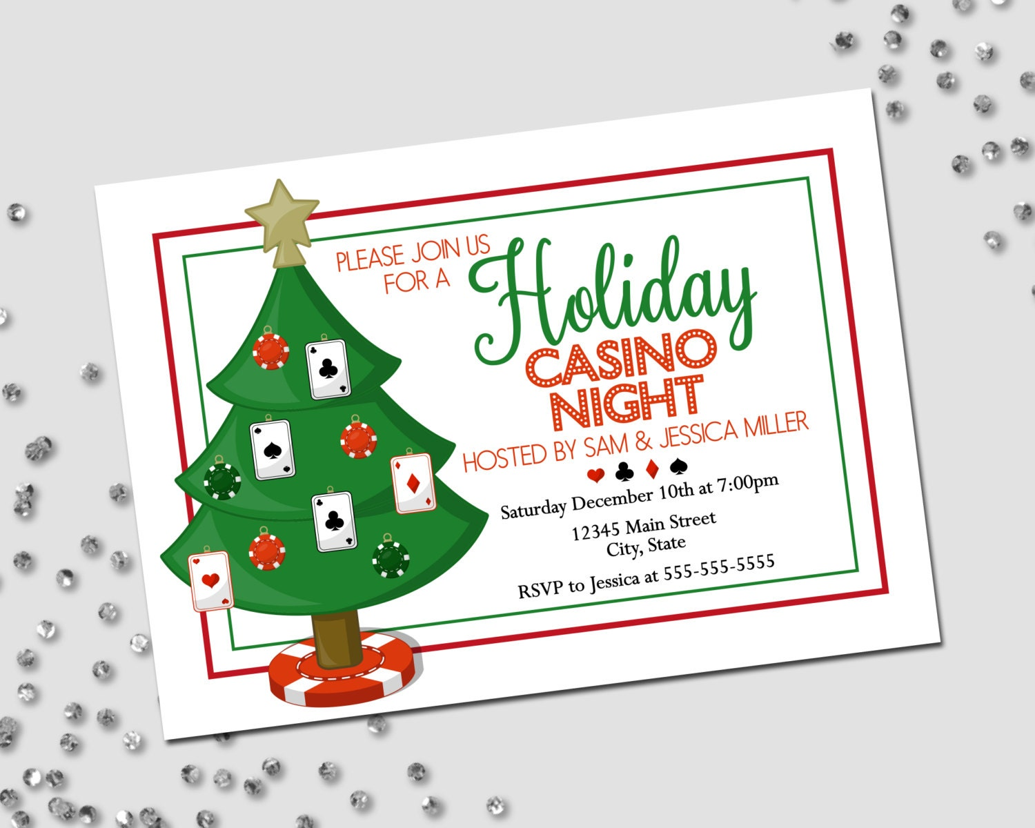 It is a picture of Gutsy Free Printable Casino Party Invitations