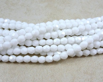 Czech Beads, 6mm Czech Fire Polished Glass Beads, 6mm Faceted Round Beads - Opaque White Beads (FP6/SM-0300) - Qty 25
