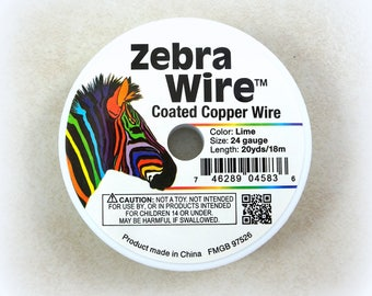 Zebra Wire, LIME GREEN 24g (2082) - Coated Copper Wire, Lime Green Color - 24 Gauge Wire for Wire Wrapping - 20 yard spool