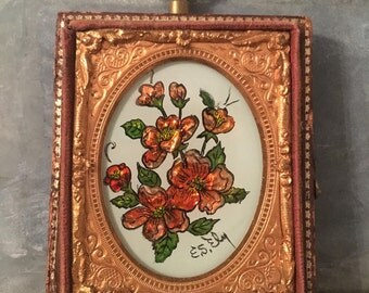 Antique Daguerreotype case with victorian tinsel painting Flowers
