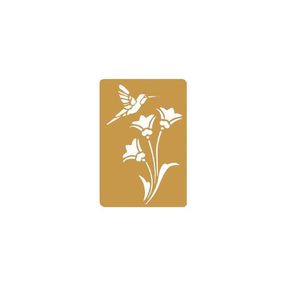 This Brass stencil humming bird on a flower perfect for your  art projects