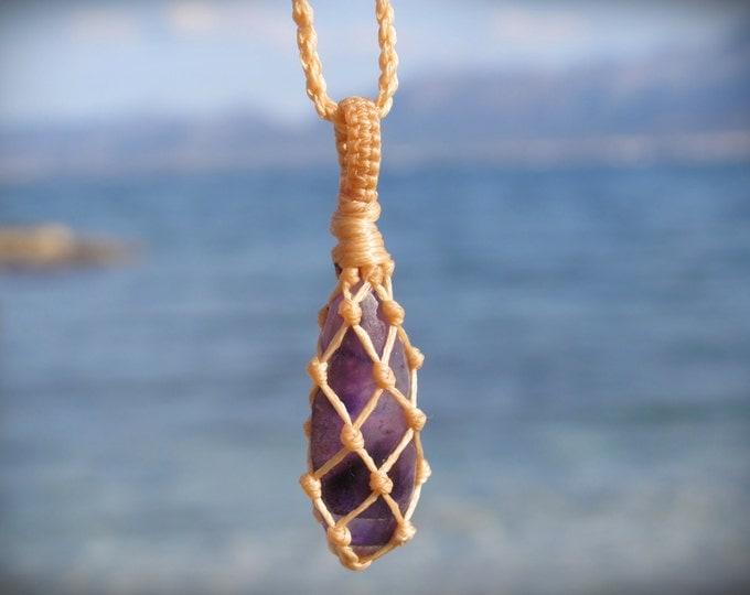 Amethyst macrame healing stone pendant