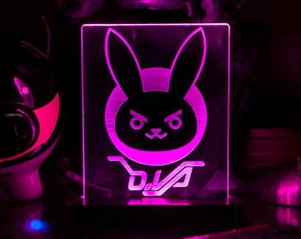 Overwatch D.Va Acrylic LED light sign, led display sign, led lite sign, led night light, LED sign, LED lamp
