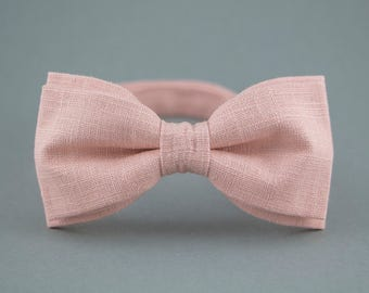 Blush Bow Tie Linen Bow Tie Soft Pink Bow Tie for Men Bow Tie for Groom Handmade Bow Tie Gift for Hubby Womens Bow Tie Pinkish Bow Tie