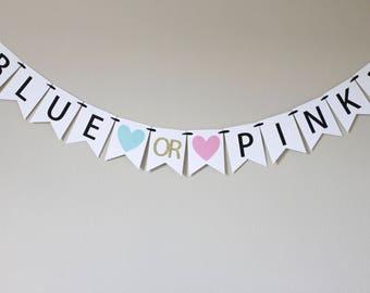 gender reveal party banner - gender reveal party - gender reveal decorations - baby shower banner - baby shower decorations - Blue or Pink?