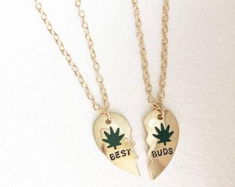 Best Buds necklace set, best friends gift, best buds, gold, marijuana necklace, stoner,weed necklace,best friends, BFF,marijuana gift leaf