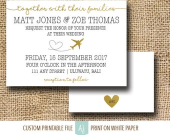Travel Themed Wedding Invitation or Custom Invite Suite- Metallic Gold Invite for Destination Wedding- Customization Included