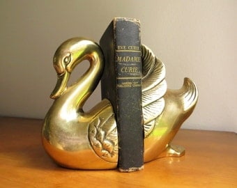 Vintage Brass Swan Bookends Brass Bookends Gold Swan Book Ends Heavy Bird Bookends Animal Bookends