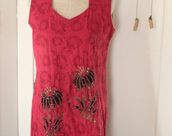 Vintage hand made boho cotton colourful tribal floral tunic with sequins - Magenta Pink Gold