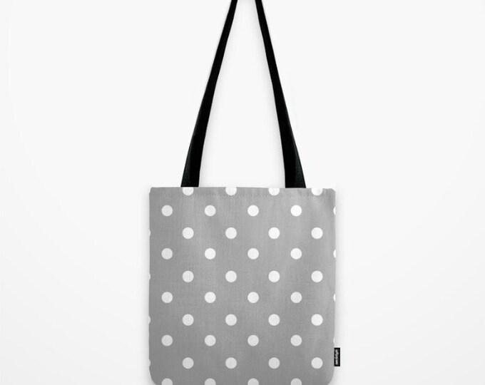 Polka Dot Tote Bag - Book Bag - Grocery Bag - Beach Bag - Gray and White - Made to Order