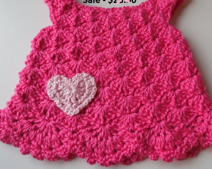 Baby Girl Dress Jumper Hot Pink with Heart - 0 to 3 Months - Handmade Crochet - Reduced - Clearance - Ready to Ship