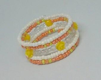 Yellow cuff  bracelet, orange cuff bracelet, bohemian bracelet, memory wire bracelet, beaded cuff bracelet, wrap bracelet, gift for her