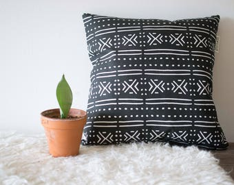 Black mud cloth printed pillow
