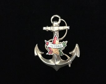 Vintage Anchor Brooch with Maple Leaf and Victoria, Canada  (ABX2A)