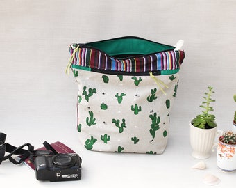 Large Camera Bag Aztec, Cactus Zipper Pouch, Travel Accessory, Gadget Bag, Womens Electronics Case, Cosmetic Case, Backpackers Gift