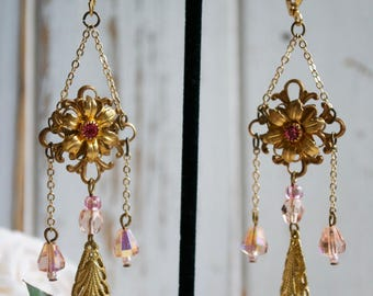 Pink and Gold Chandelier Earrings