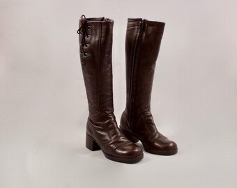 60s leather knee high boots / lace up boots / retro boots / mod boots / 6 - 36 / brown leathers boots / 60s boots / fur lined boots