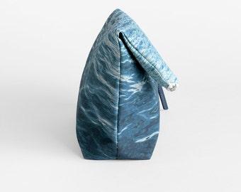 Blue Foldover Clutch Bag - Ocean Print Bag - Blue Zipper Purse - Vegan Canvas Fold Over Bag - Blue Vegan Evening Bag - Mother's Day Gift