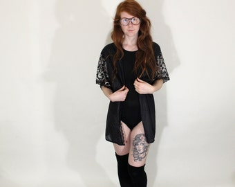 Vintage Lingerie Coverup Lace Sleeves Vintage Kimono Robe Housecoat Beach Coverup 90s Robe
