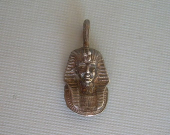 Egyptian Pharaoh Tut Face Bust Head Pendant Charm-Vintage Sterling Silver-Egypt Young Boy King Tutankhamen-00553