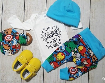 Baby Boy Superhero Marvel Onesie Gift Set- Onesie, Baby Pants, Teething Ring, Baby Moccasins, Baby Hat