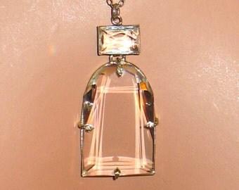 1920s Necklace, Art Deco Clear Faceted Glass Czech Necklace, Bridal Jewelry, 1910s, 1920s Czech Clear Glass Necklace, Art Nouveau Necklace