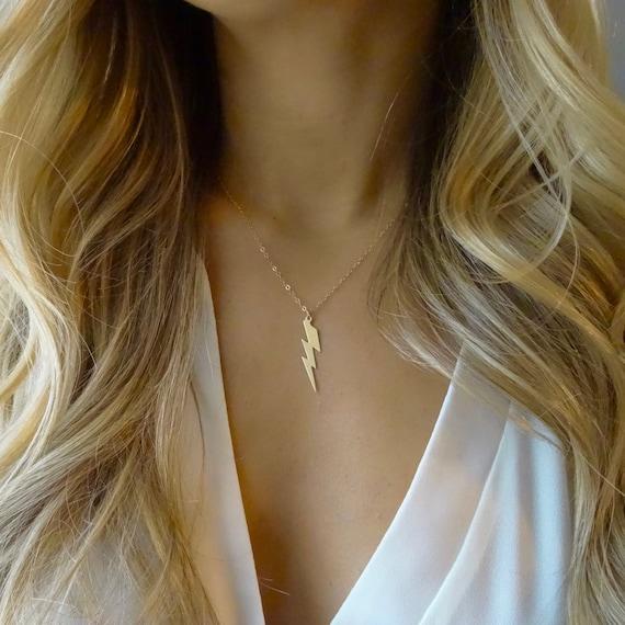 Gold Lightning Bolt Necklace