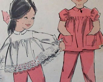 Vintage 1961 Advance Toddler's Smock Top and Suspender Pants  Sewing Pattern #9805  Size 2