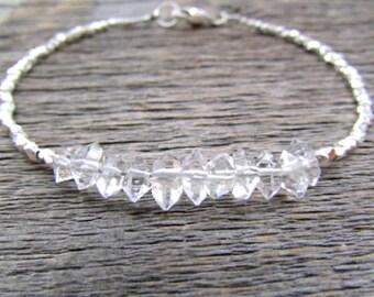Herkimer Diamond Bracelet, Hill Tribe Silver Bracelet, Stack Bracelet, April Birthstone Bracelet, Herkimer Diamond Jewelry, Women Gift