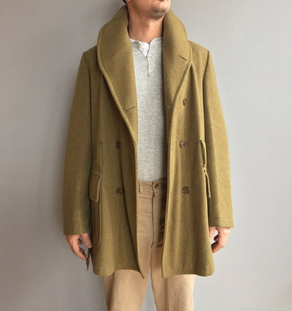 WW2 Jeep Coat Olive Green double-breasted Wool Coat. Two Front Flap pockets. Shawl Collar.  Wool belt