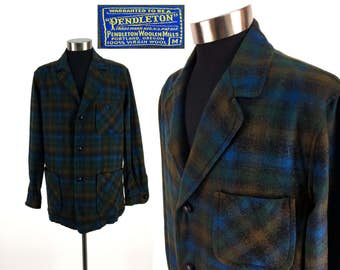 Vintage 70s - 80s PENDLETON Tartan Plaid Wool Flannel Jacket MEDIUM // Lumberjack // Boyfriend // Button-Down // M // Classic // Wool Coat