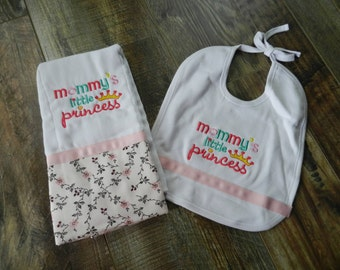 Two Piece Personalized Burp cloth and Bib Gift Set with free monogram