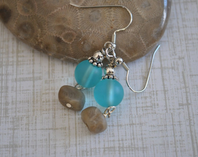 Lake Michigan Petoskey stone nugget and aqua beach glass earrings, Up North Michigan, Lake Michigan