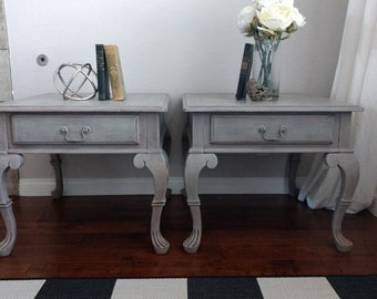 SOLD - Gorgeous French Country End Tables/Side Tables/Nightstands - Pair of Grey Tables
