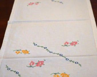 Linen Table Runner, Dresser Scarf, Embroidered Flowers, Hemstitch Edge