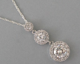 Cubic Zirconia, Rhodium Plated Over Brass Necklace, Bridal Necklace, Crystal Necklace, Bridesmaids Gift- DK584