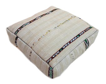 Moroccan vintage handmade floor cushion / Made From Hand Woven wedding blanket / moroccan pouf / floor pouf / kilim pouf