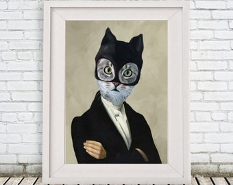 Cat Poster, Print of a cat, Cat Woman, Cat Batman, Pussy, Holiday Gift, Christmas Gift, Coco de Paris